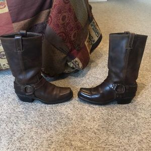 Frye brown leather harness Motorcycle boots sz 8